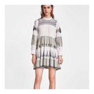 Zara Long Sleeve Mini Dress with Embroidery